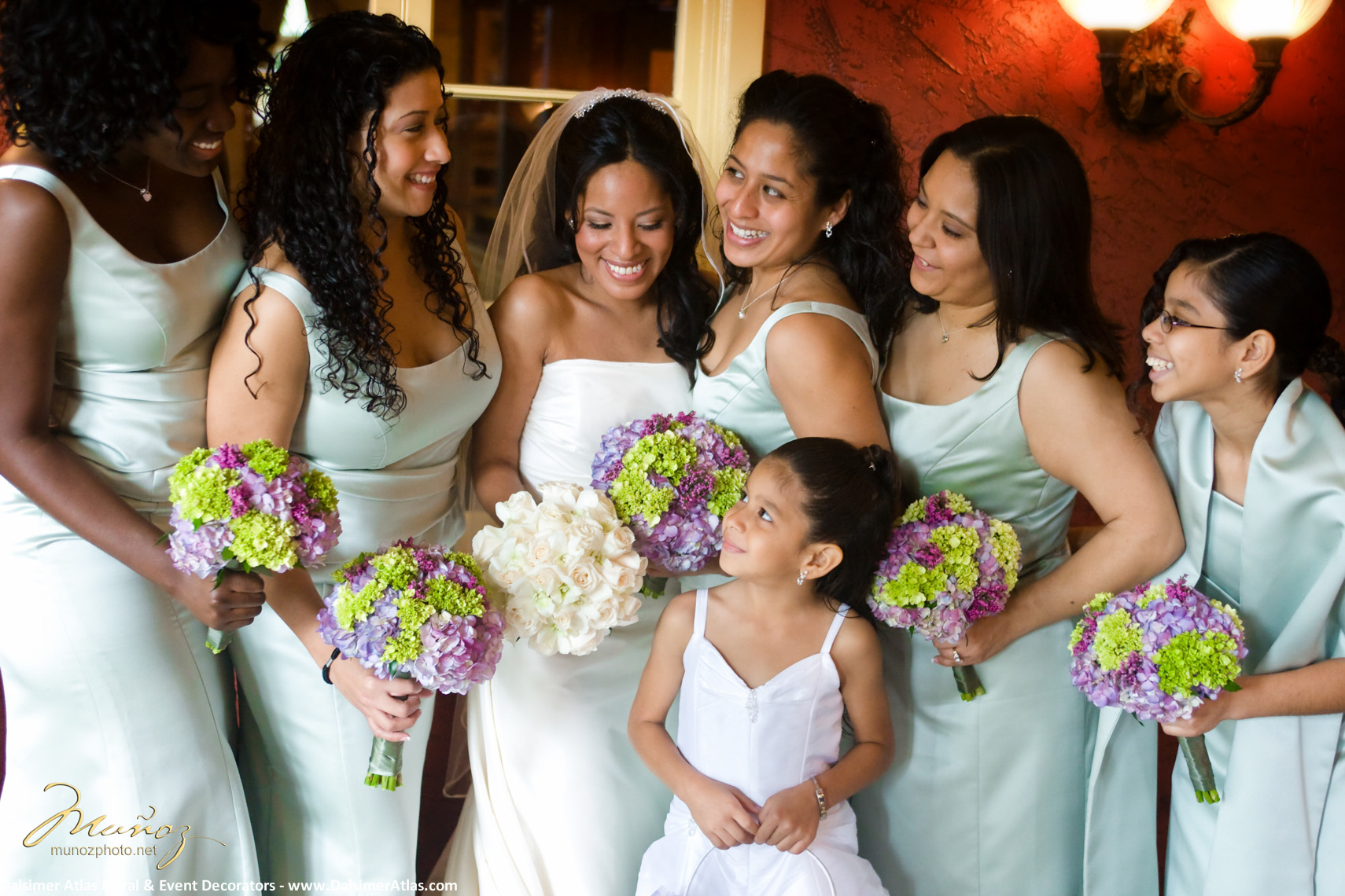 Bridesmaids Bouquets Green Purple Hydrangea