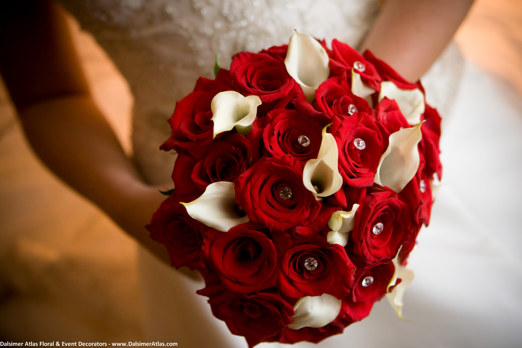 Bridal Bouquet Red Roses White Calla Lilies
