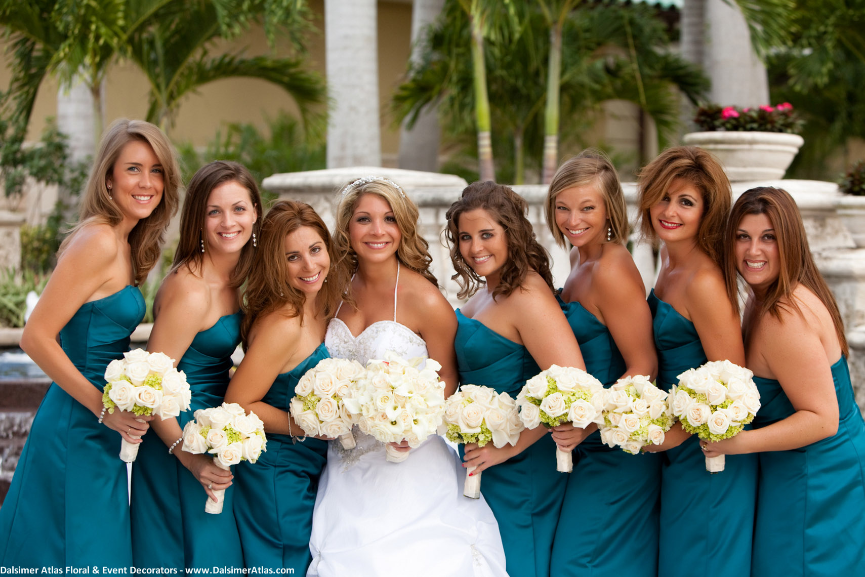 Bridesmaids Bouquets White Roses