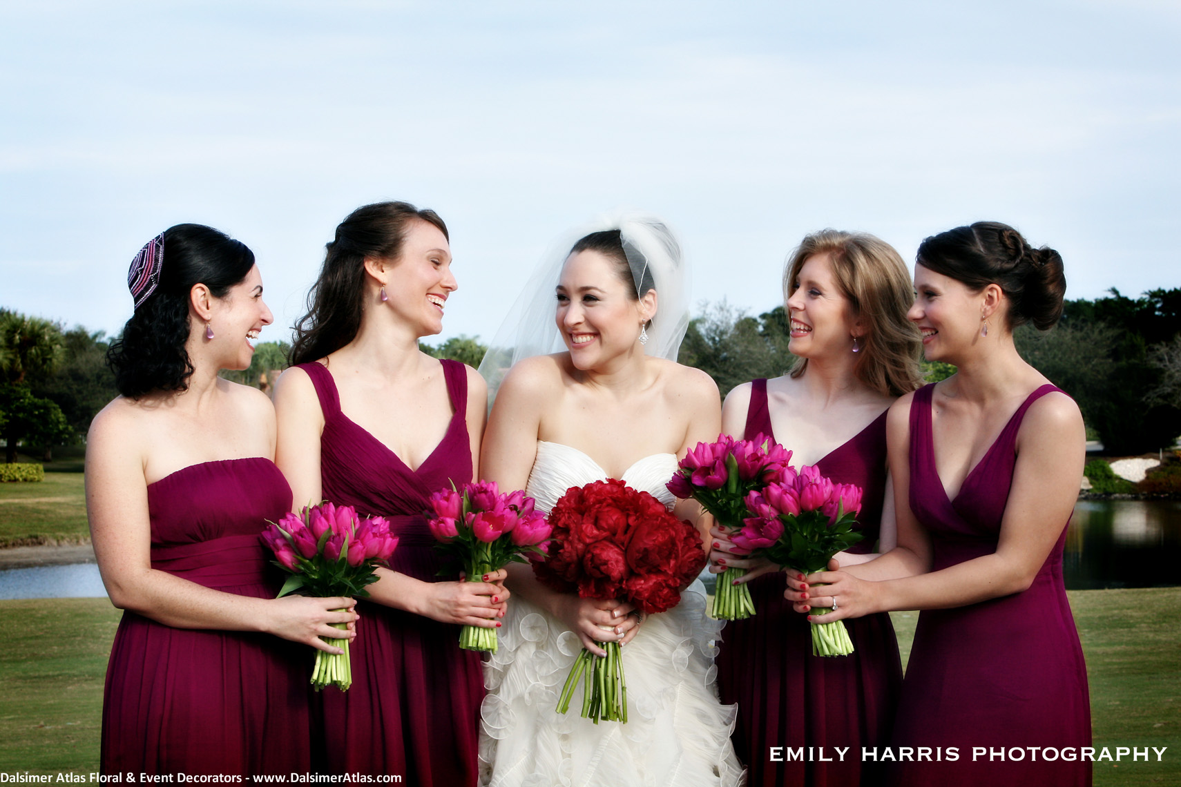 Bridesmaids Bouquets Hot Pink Tulips