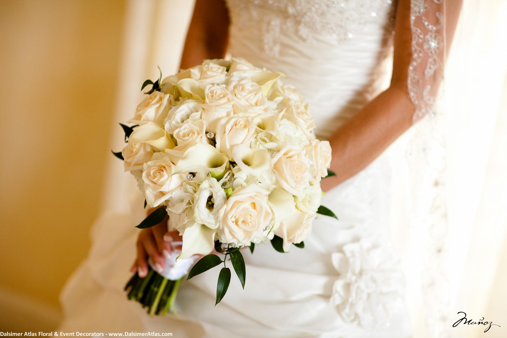 Bridal Bouquet White Roses White Calla Lilies