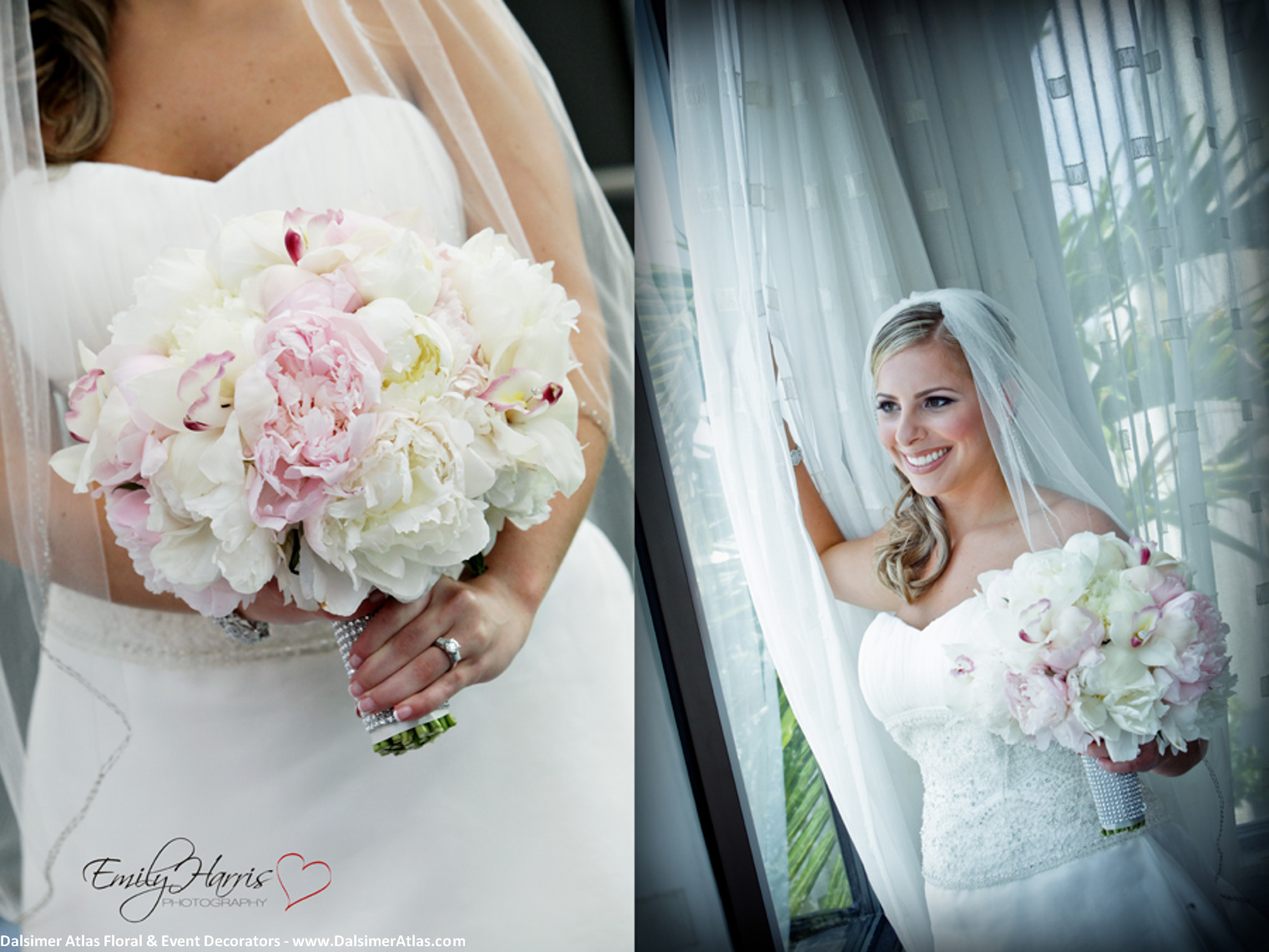 Bridal Bouquet White Peonies Pink Peonies White Orchids