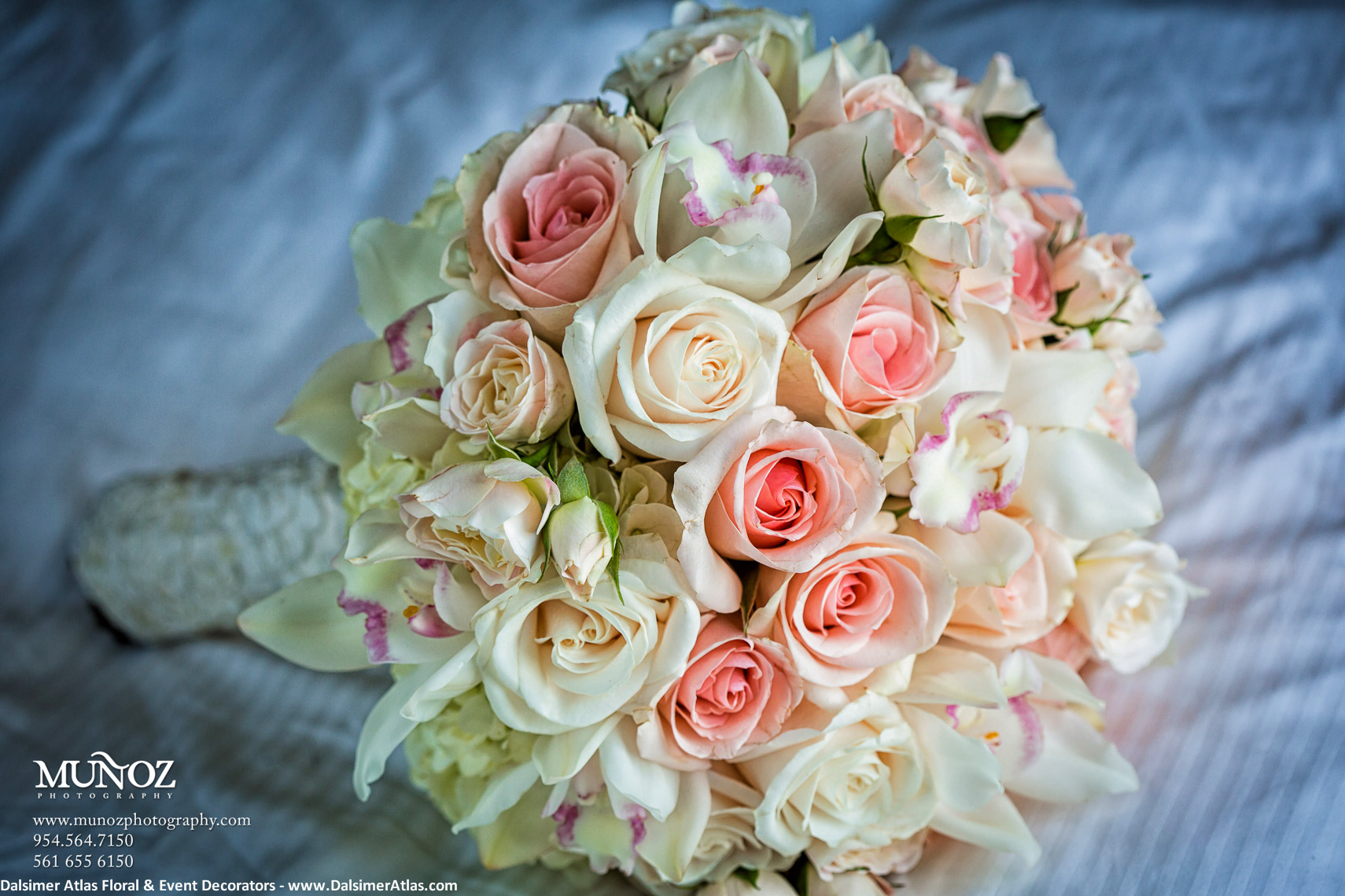Bridal Bouquet Roses Orchids Pink White Cream