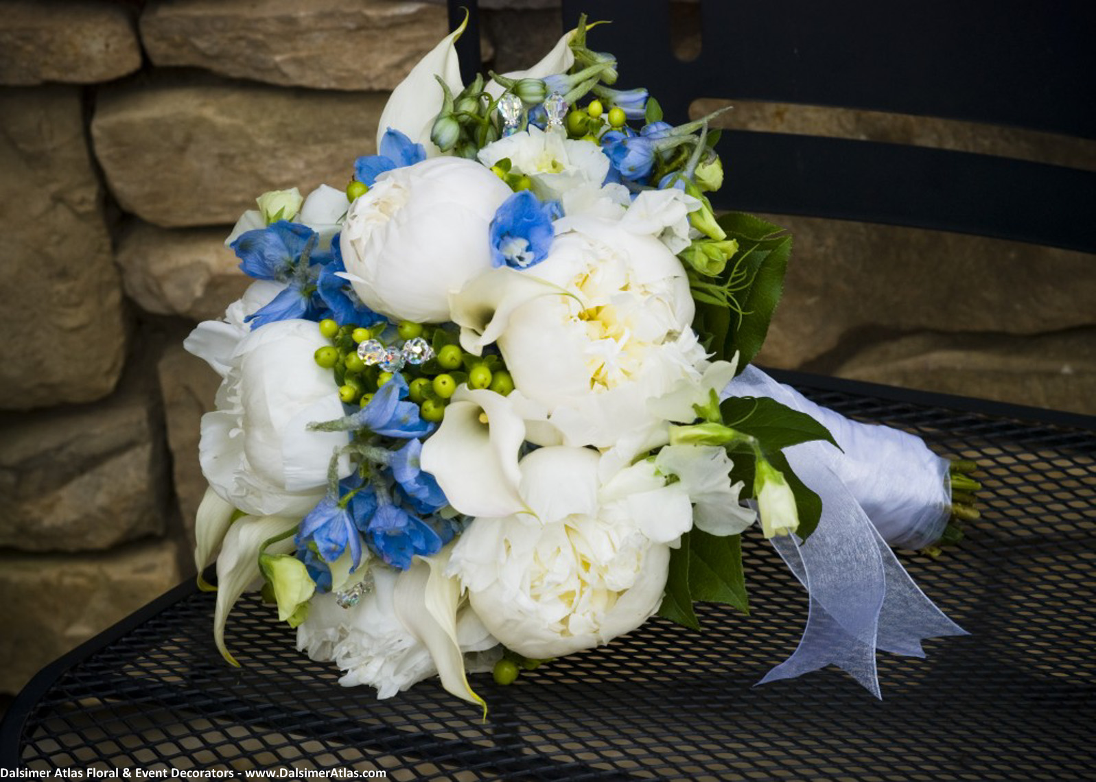 Bridal Bouquet White Blue Green