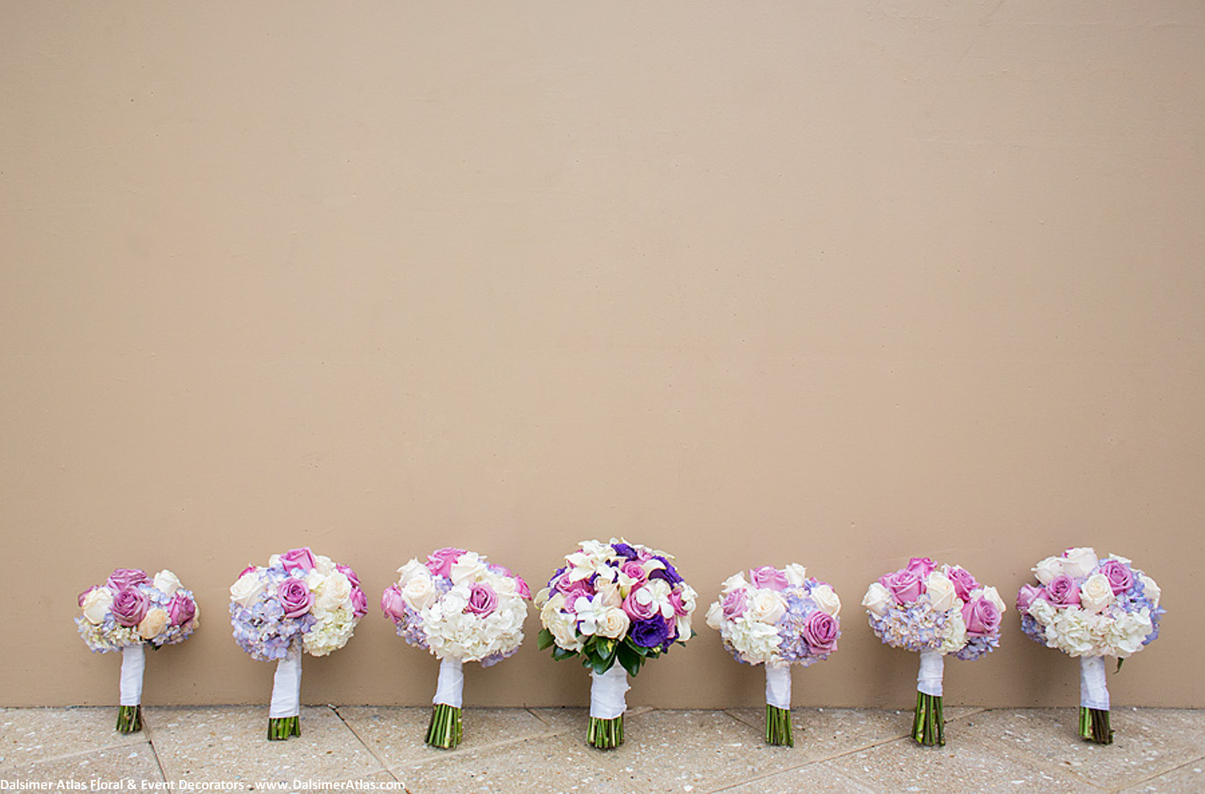 Bridesmaids Bouquets Purple Pink Cream