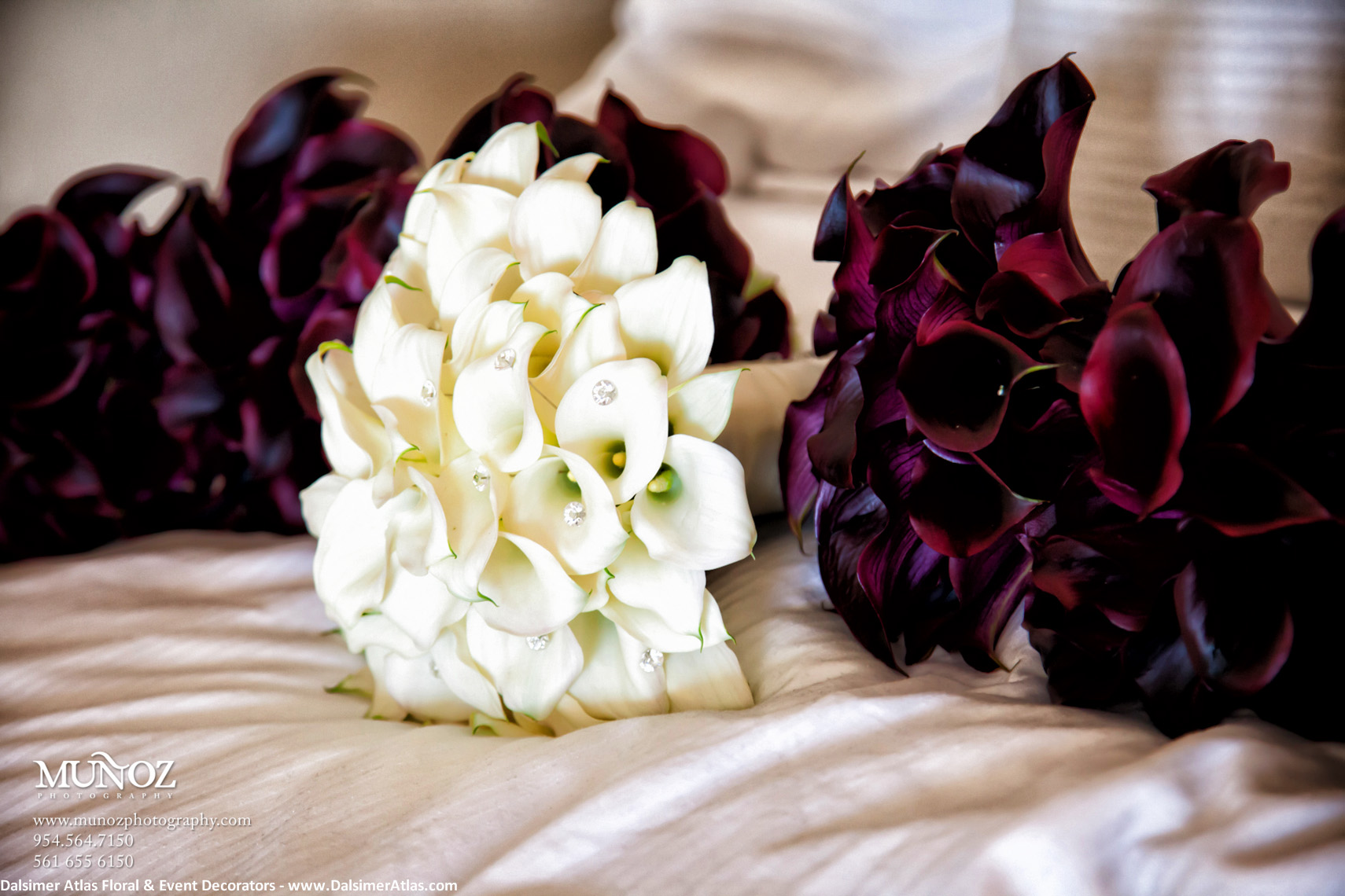 Bridesmaids Bouquets Purple Calla Lilies