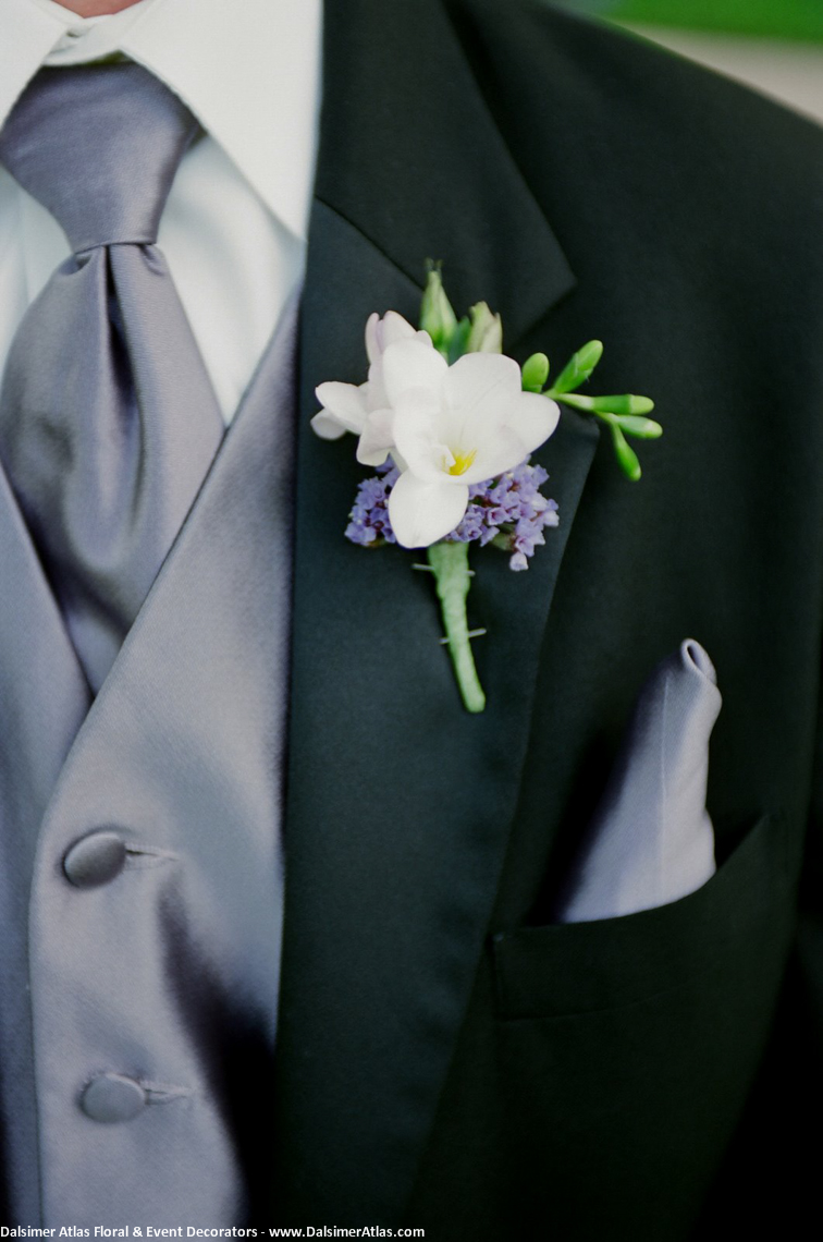 Grooms Boutonniere White Purple