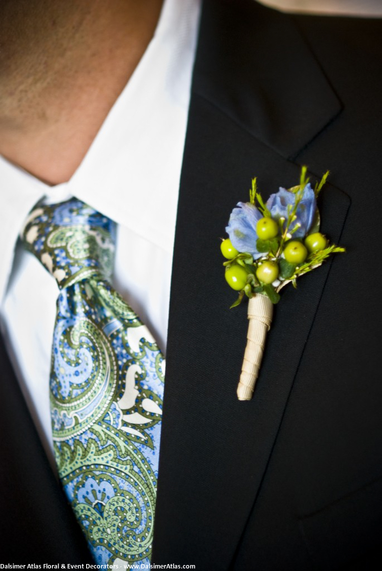 Grooms Boutonniere Green Blue