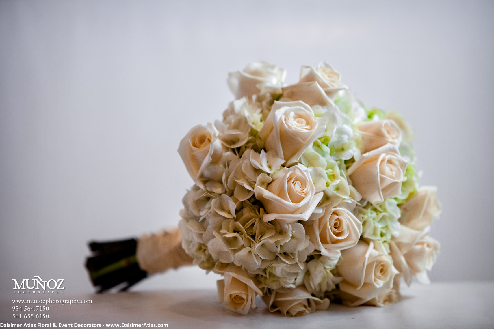 Bridal Bouquet Ivory Roses Hydrangeas