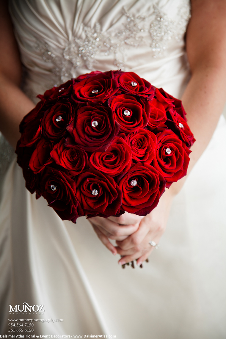 Bridal Bouquet Deep Red Roses Wedding Flowers Bat Bar