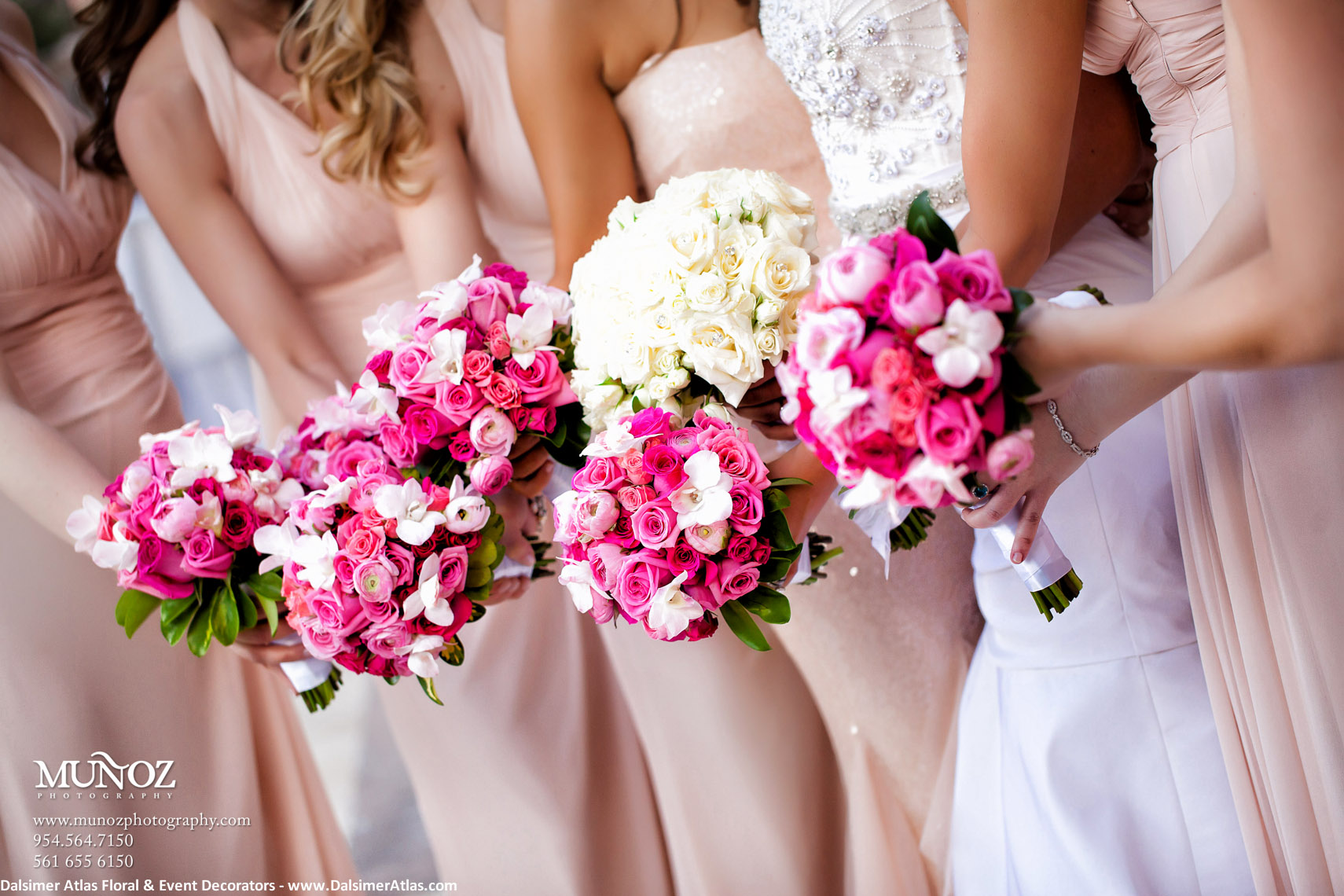 Bridesmaids Bouquets Pink Hot Pink