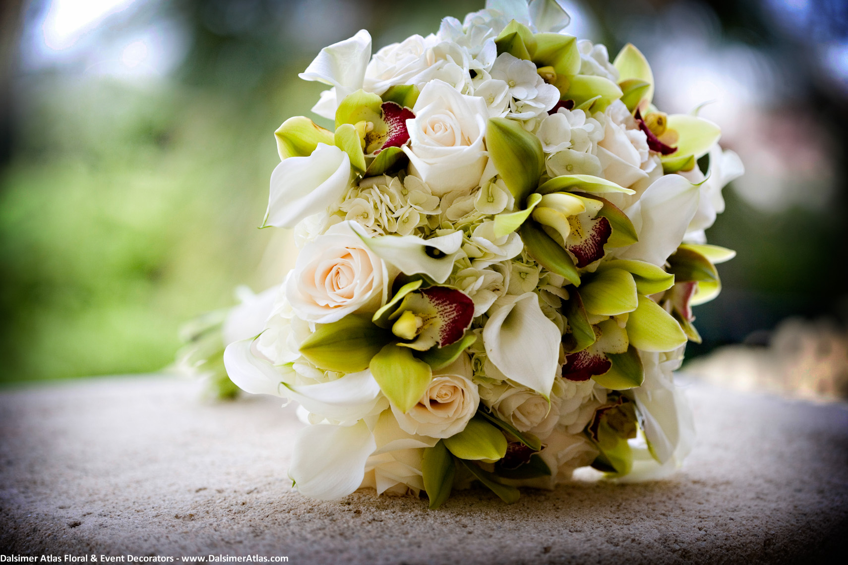 Bridal Bouquet Green Orchids Cream Roses