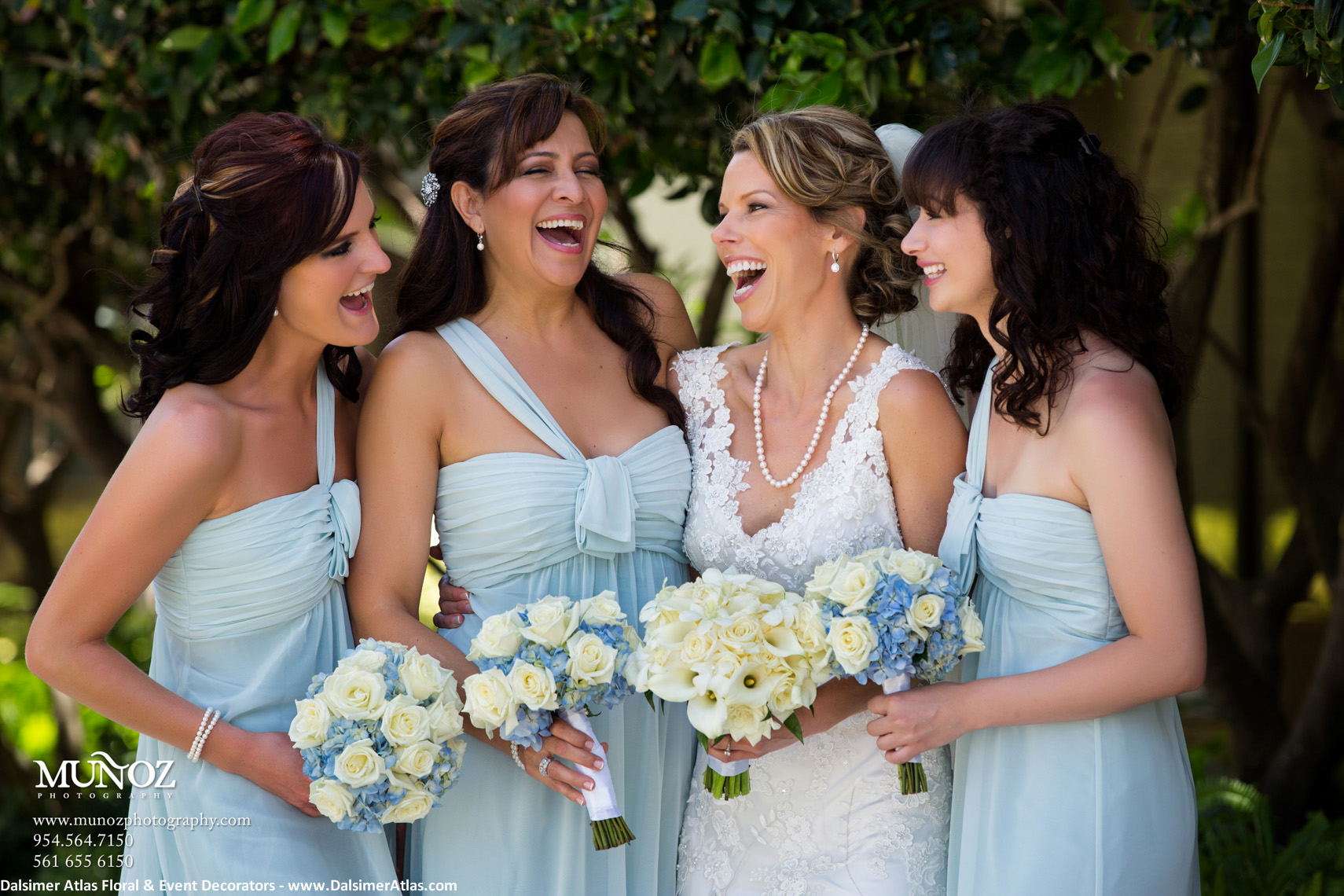 Bridesmaids Bouquets Blue Ivory