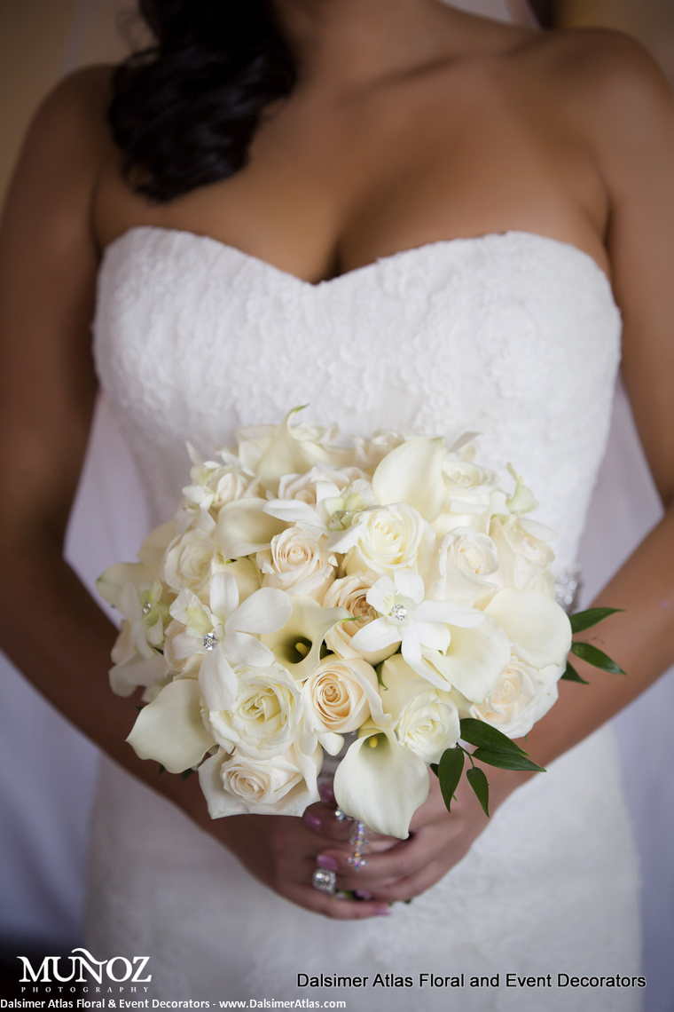 Bridal Bouquet Calla Lilies Roses Ivory